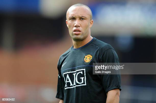 Mikael Silvestre in action during the Manchester United training session held at Loftus Versfeld Stadium on July 25 2008 in Pretoria South Africa