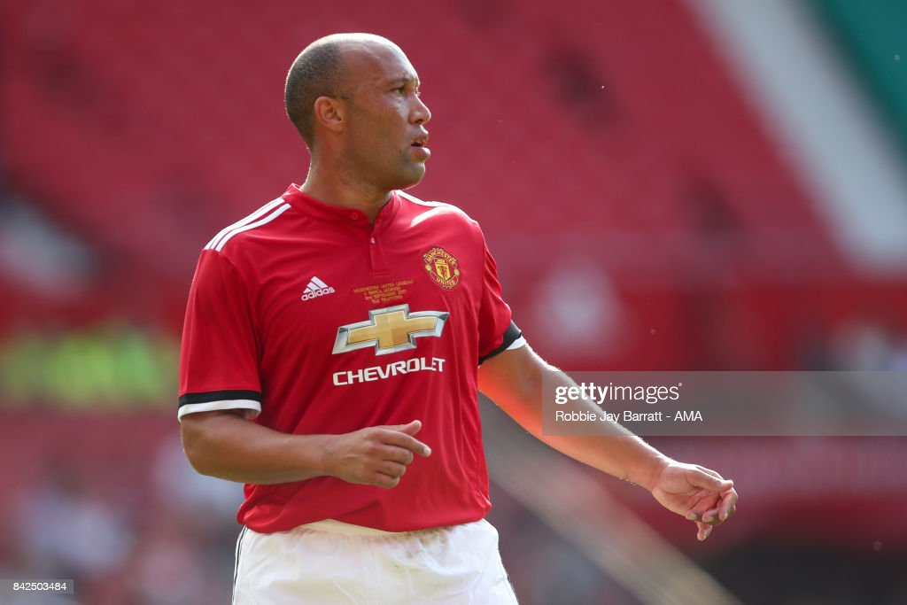 Mikael Silvestre of Manchester United Legends during the match between Manchester United Legends and FC Barcelona Legends at Old Trafford on September 2, 2017 in Manchester, England.