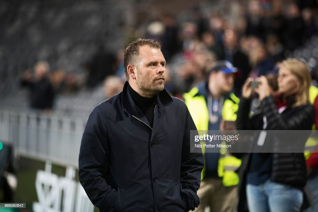 Mikael Stahre, head coach of BK Hacken during the Allsvenskan match between Djurgardens IF and BK Hacken at Tele2 Arena on October 22, 2017 in Stockholm, Sweden.