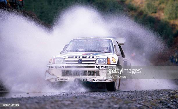 Mikael Sundstrom and Viotto Skander of Finland driving a Peugeot 205 Turbo 16 during the Lombard RAC Rally circa 1986
