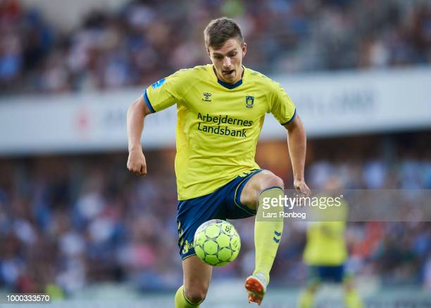 Mikael Uhre of Brondby IF controls the ball during the Danish Superliga match between Randers FC and Brondby IF at BioNutria Park on July 16 2018 in...