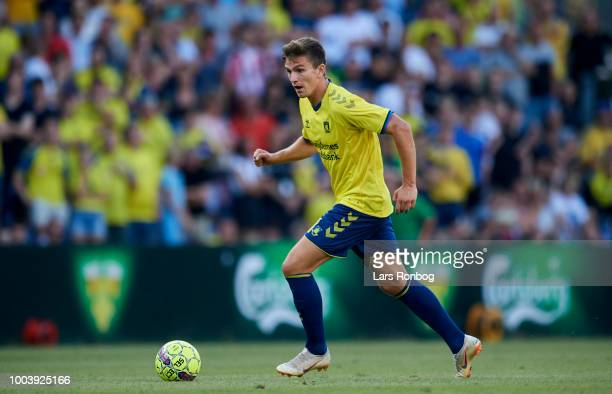 Mikael Uhre of Brondby IF controls the ball during the Danish Superliga match between Brondby IF and Vejle Boldklub at Brondby Stadion on July 22...