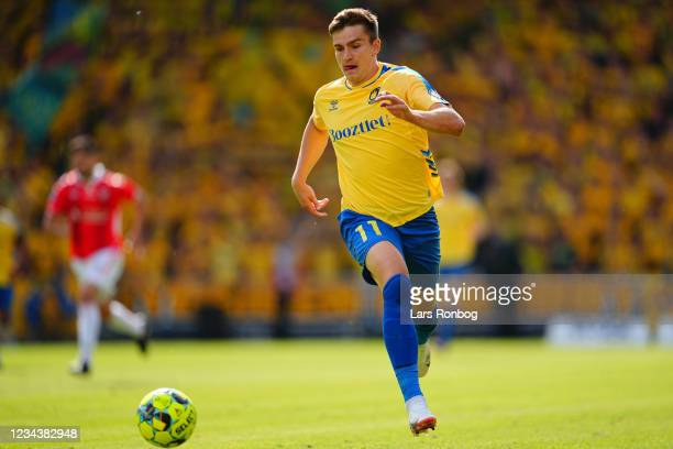 Mikael Uhre of Brondby IF in action during the Danish 3F Superliga match between Vejle Boldklub and Brondby IF at Vejle Stadion on August 1, 2021 in...