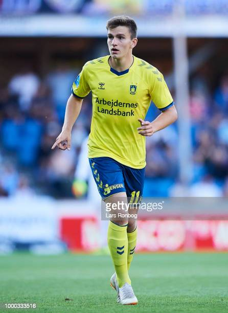 Mikael Uhre of Brondby IF in action during the Danish Superliga match between Randers FC and Brondby IF at BioNutria Park on July 16 2018 in Randers...