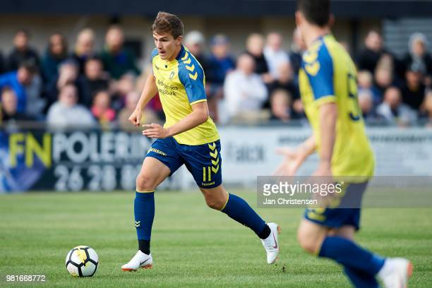 Mikael Uhre of Brondby IF in action during the test match between LedojeSmorum Fodbold and Brondby IF at Sydbank Arena on June 22 2018 in Smorum...