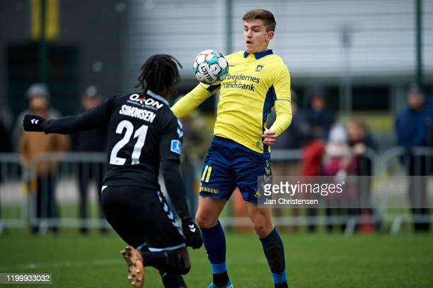 Mikael Uhre of Brondby IF in action during the testmatch between Brondby IF and SonderjyskE at Brondby Stadion on February 10, 2020 in Brondby,...