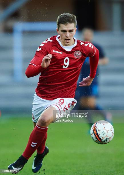 Mikael Uhre of Denmark U21 controls the ball during the U21 International friendly match between Denmark and England at BioNutria Park on March 27...