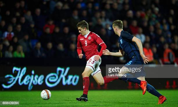 Mikael Uhre of Denmark U21 in action during the U21 International friendly match between Denmark and England at BioNutria Park on March 27 2017 in...