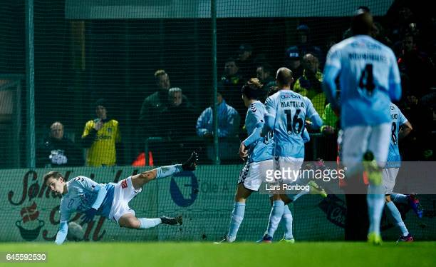 Mikael Uhre of Sonderjyske celebrates after scoring their first goal during the Danish Alka Superliga match match between Sonderjyske and Brondby IF...