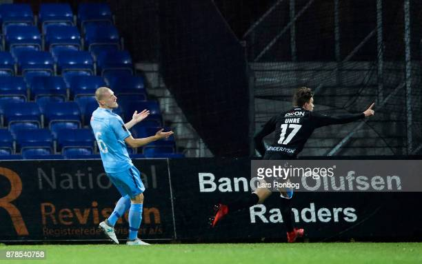 Mikael Uhre of Sonderjyske celebrates after scoring their first goal during the Danish Alka Superliga match between Randers FC and Sonderjyske at...
