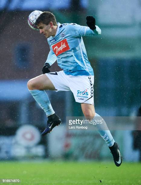 Mikael Uhre of Sonderjyske in action during the Danish Alka Superliga match between Sonderjyske and FC Nordsjalland at Sydbank Park on February 11...