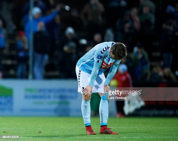 Mikael Uhre of Sonderjyske looks dejected after the Danish Alka Superliga match between Sonderjyske and Brondby IF at Sydbank Park on December 3 2017...