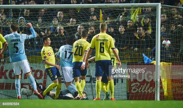Mikael Uhre of Sonderjyske scores the 10 goal during the Danish Alka Superliga match match between Sonderjyske and Brondby IF at Sydbank Park on...