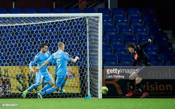 Mikael Uhre of Sonderjyske scores the 10 goal during the Danish Alka Superliga match between Randers FC and Sonderjyske at BioNutria Park on November...