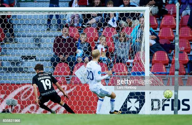 Mikael Uhre of Sonderjyske scores the 21 goal during the Danish Alka Superliga match between FC Copenhagen and Sonderjyske at Telia Parken Stadium on...