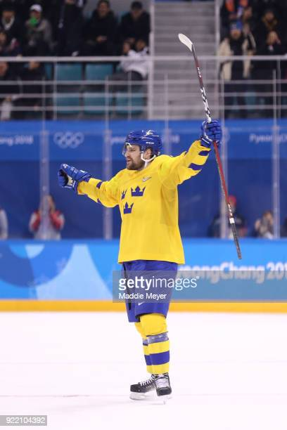 Mikael Wikstrand of Sweden reacts after scoring a goal in the third period on Germany during the Men's Playoffs Quarterfinals game on day twelve of...