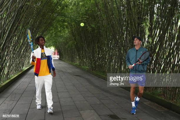 Mikael Ymer of Sweden and Jared Donaldson of the United States play tennis during 2017 ATP Chengdu Open at Wangjianglou Park on September 24, 2017 in...