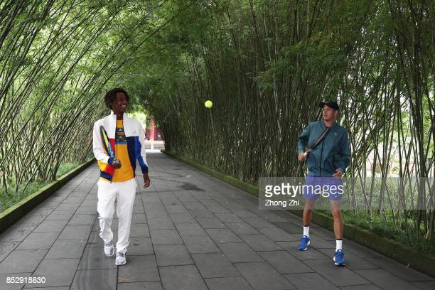 Mikael Ymer of Sweden and Jared Donaldson of the United States play tennis during 2017 ATP Chengdu Open at Wangjianglou Park on September 24 2017 in...