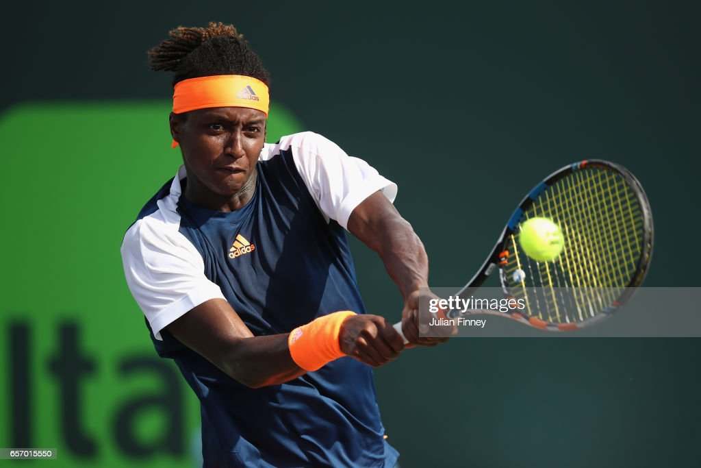 Mikael Ymer of Sweden in action against Robin Haase of Netherlands at Crandon Park Tennis Center on March 23, 2017 in Key Biscayne, Florida.
