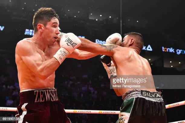 Mikael Zewski connects with a punch against Fernando Silva during the Super Welterweight match at the Bell Centre on June 3 2017 in Montreal Quebec...
