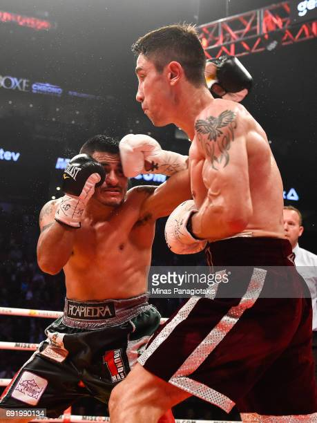 Mikael Zewski connects with a right hook on Fernando Silva during the Super Welterweight match at the Bell Centre on June 3 2017 in Montreal Quebec...