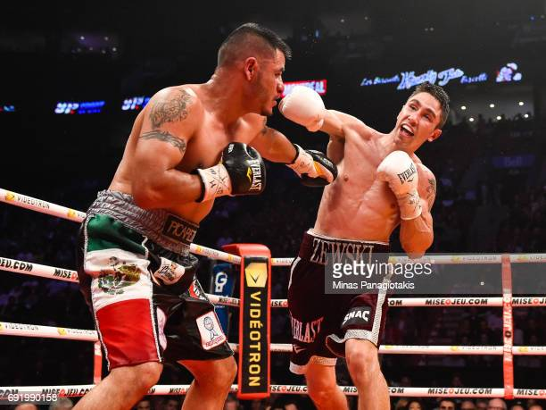 Mikael Zewski misses his punch against Fernando Silva during the Super Welterweight match at the Bell Centre on June 3 2017 in Montreal Quebec Canada