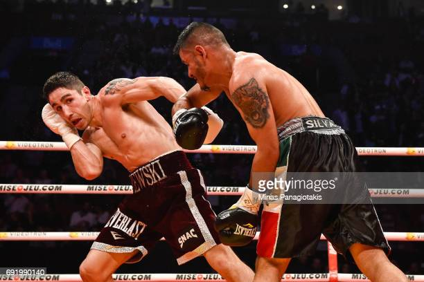 Mikael Zewski sidesteps Fernando Silva during the Super Welterweight match at the Bell Centre on June 3 2017 in Montreal Quebec Canada