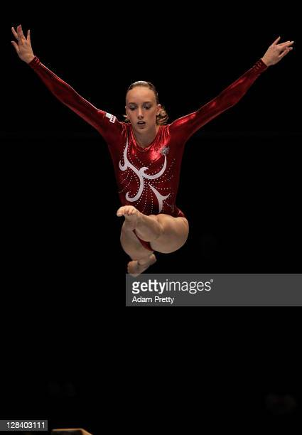 Mikaela Gerber of Canada performs on the Beam aparatus in the Women's Qualification during the day one of the Artistic Gymnastics World Championships...