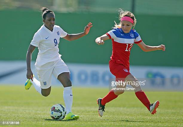 Mikaela Harvey of USA and Danielle Carter of England fight for the ball during the women's U23 international friendly match between USA U20 and...