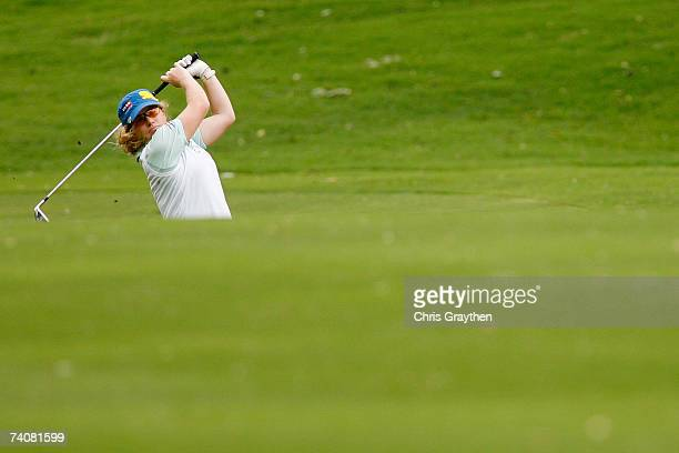 Mikaela Parmlid of Sweden makes a shot from the fairway on the 8th hole during the second round of the SemGroup Championship presented by John Q...