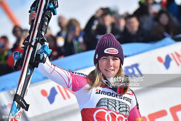 US Mikaela Schiffrin celebrates in the finish area after winning the FIS Alpine Skiing World Cup Women Slalom on December 11 2016 in Sestriere...
