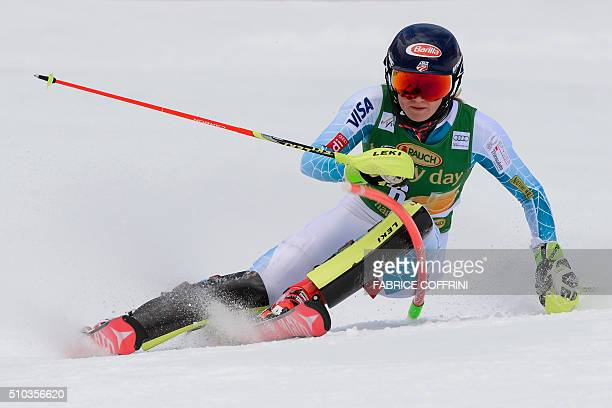 Mikaela Shiffrin clears a gate during the first run of the Women's slalom on February 15 2016 at the FIS Alpine Skiing World Cup in CransMontana /...