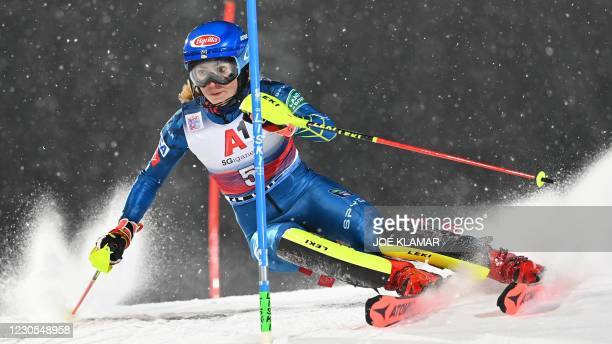 Mikaela Shiffrin competes during her 1st Round of the FIS Alpine Ski Women's Slalom World Cup event on January 12 in Flachau Austria.