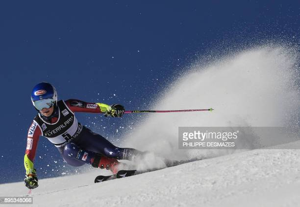TOPSHOT US' Mikaela Shiffrin competes during the first run of the FIS Alpine Women's World Cup Giant Slalom on December 19 2017 in Courchevel French...