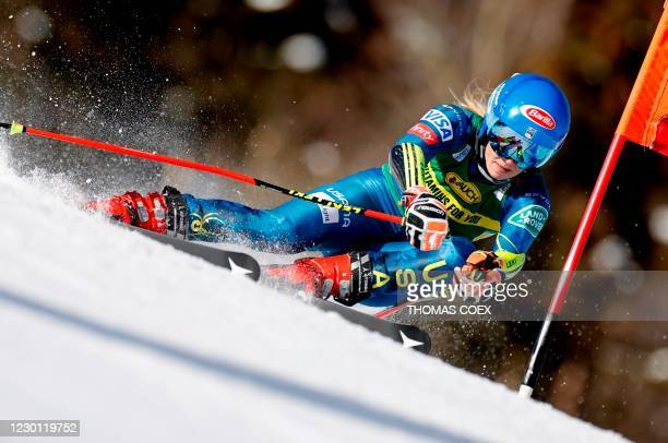 Mikaela Shiffrin competes during the first run of the women's giant slalom event during the FIS Alpine Ski World Cup in Courchevel, French Alps, on...