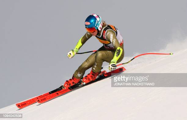 Mikaela Shiffrin competes during the women's Super G event of the 2019 FIS Alpine Ski World Championships at the National Arena in Are, Sweden, on...