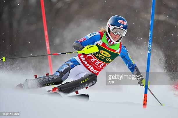 US Mikaela Shiffrin competes during the women's World Cup slalom at Maribor on January 27 2013 AFP PHOTO JURE MAKOVEC