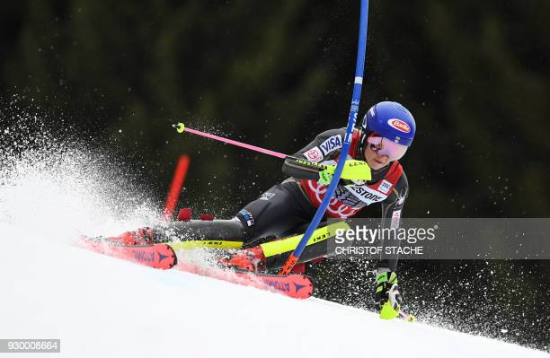 US Mikaela Shiffrin competes in the 1st round of the FIS World Cup Women's Slalom competition in Ofterschwang southern Germany on March 10 2018 / AFP...