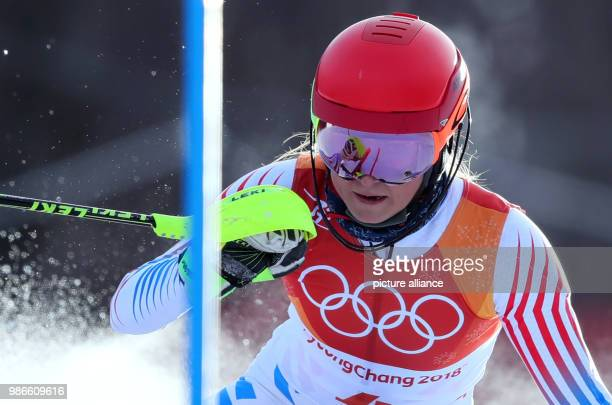 US Mikaela Shiffrin competes in the first heat of the women's Slalom alpine skiing event on the day seven of the Pyeongchang 2018 Winter Olympics in...