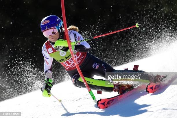 US Mikaela Shiffrin competes in the first round of the Women's slalom race during the FIS Alpine ski world cup championship on March 16 in...
