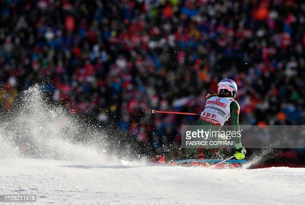 US' Mikaela Shiffrin competes in the second run of the women's slalom event at the 2019 FIS Alpine Ski World Championships at the National Arena in...