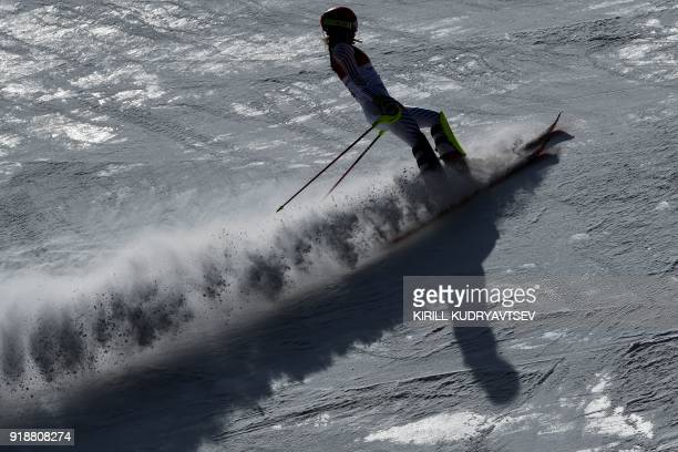 TOPSHOT USA' Mikaela Shiffrin competes in the Women's Slalom at the Jeongseon Alpine Center during the Pyeongchang 2018 Winter Olympic Games in...