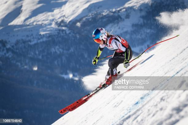 Mikaela Shiffrin competes in the Women's Super G race during the FIS Alpine Ski World Cup on December 8 in Saint Moritz.