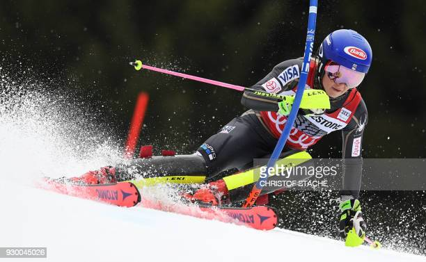 Mikaela Shiffrin from the US competes in the first round of the FIS World Cup Women's Slalom event in Ofterschwang southern Germany on March 10 2018...
