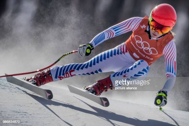 US Mikaela Shiffrin in action during the second training of the Alpine Skiing Women's Downhill during the Pyeongchang 2018 Winter Olympic Games at...