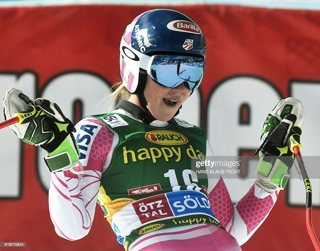 Mikaela Shiffrin of of USA reacts after the second run of the ladies' giant slalom of the FIS ski world cup in Soelden, Austria on October 22, 2016. / AFP / APA / HANS KLAUS TECHT / Austria OUT