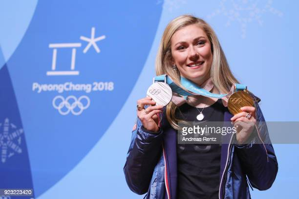 Mikaela Shiffrin of the United States attends a press conference on day 14 of the PyeongChang 2018 Winter Olympic Games on February 23 2018 in...