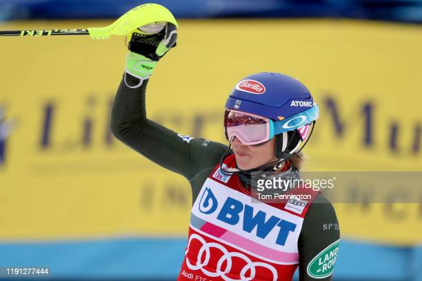 Mikaela Shiffrin of the United States celebrates after crossing the finish line to win the Women's Slalom during the Audi FIS Ski World Cup...