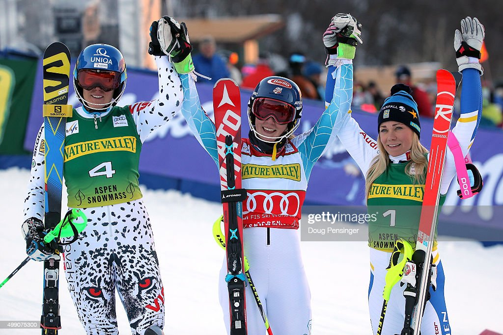 Mikaela Shiffrin (C) of the United States celebrates after winning the slalom along with Veronika Velez Zuzulova (L) of Slovakia in second place and Frida Hansdotter (R) of Sweden in third place during the Audi FIS Women's Alpine Ski World Cup at the Nature Valley Aspen Winternational on November 28, 2015 in Aspen, Colorado.