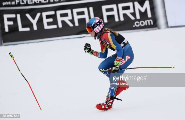 Mikaela Shiffrin of the United States celebrates after winning the Audi FIS World Cup Ladies' Giant Slalom on March 10 2017 in Squaw Valley California